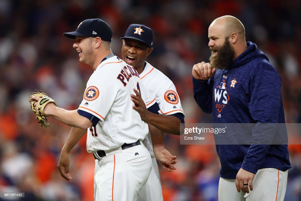 Brad Peacock #41 celebrates with teammates after defeatng the Los Angeles Dodgers in game three of the 2017 World Series at Minute Maid Park on October 27, 2017 in Houston, Texas. The Astros defeated the Dodgers 5-3.