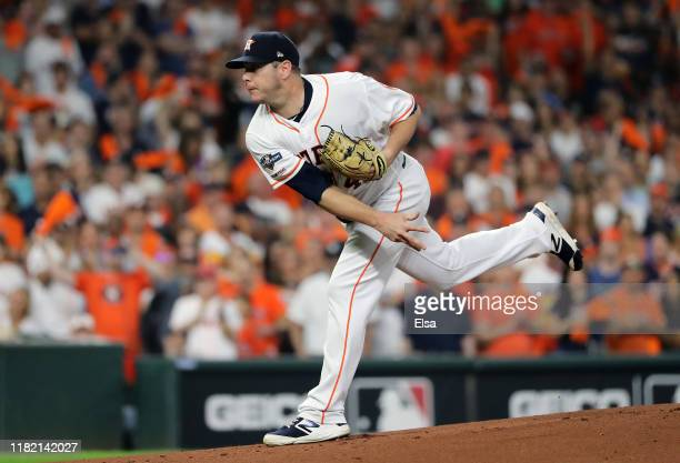 Brad Peacock of the Houston Astros delivers the first pitch of game six of the American League Championship Series against the New York Yankees at...