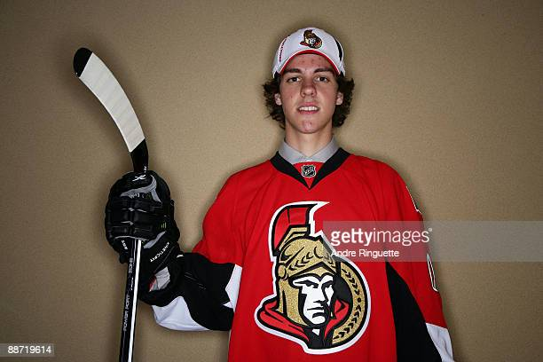 Brad Peltz poses for a portrait after being drafted by the Ottawa Senators during the second day of the 2009 NHL Entry Draft at the Bell Centre on...