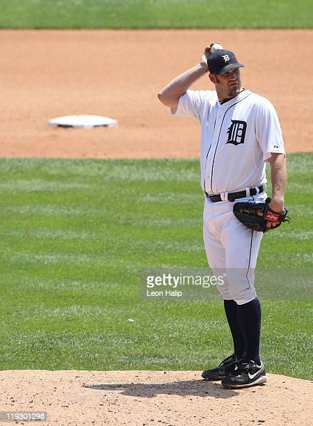 Brad Penny of the Detroit Tigers reacts after giving up a run during the second inning of the game against the Chicago White Sox at Comerica Park on...