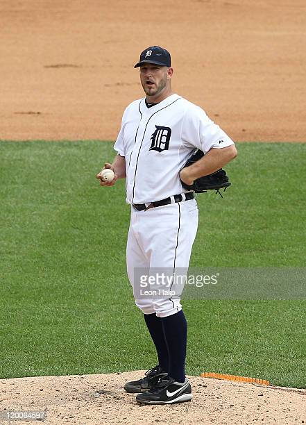 Brad Penny of the Detroit Tigers reacts after giving up four runs during the fourth inning of the game against the Los Angeles Angeles of Anaheim at...