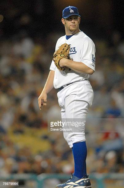 Brad Penny of the Los Angeles Dodgers looks back after giving up a solo home run to Chris Duncan during their contest against the St Louis Cardinals...