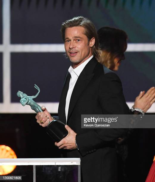 Brad Pitt accepts Outstanding Performance by a Male Actor in a Supporting Role for 'Once Upon a Time in Hollywood' onstage during the 26th Annual...