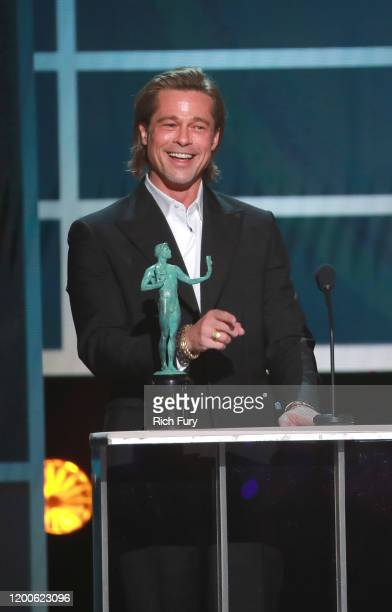Brad Pitt accepts the awards for Outstanding Performance by a Male Actor in a Supporting Role for Once Upon A Time In Hollywood onstage during the...