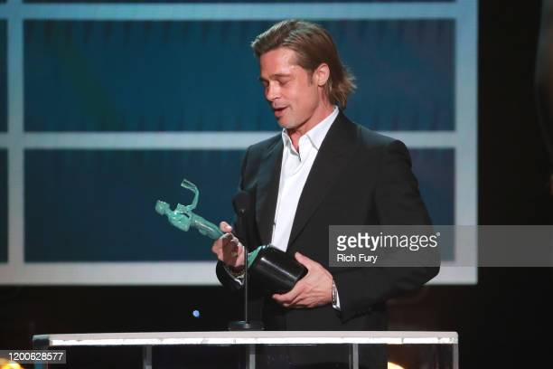 Brad Pitt accepts the Outstanding Performance by a Male Actor in a Supporting Role award for 'Once Upon a Time in Hollywood' onstage during the 26th...