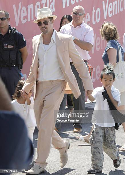 Brad Pitt along with his adopted sons Pax Thien JoliePitt and Maddox JoliePitt depart Venice following his stay for the Venice Film Festival on...