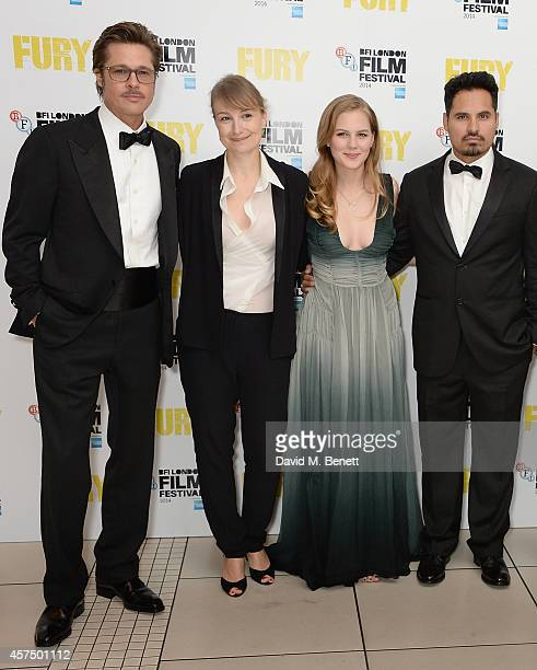 Brad Pitt Anamaria Marinca Alicia von Rittberg and Michael Pena attend the closing night Gala screening of 'Fury' during the 58th BFI London Film...