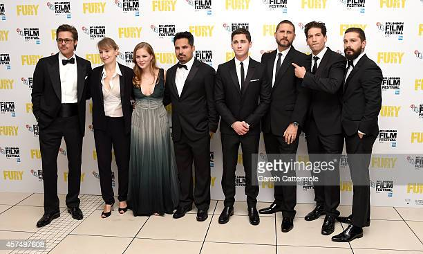 Brad Pitt Anamaria Marinca Alicia von Rittberg Michael Pena Logan Lerman director David Ayer Jon Bernthal and Shia LeBeouf attend the closing night...