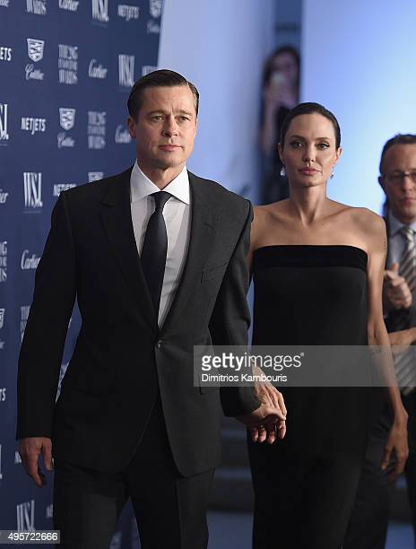 Brad Pitt and 2015 Entertainment Innovator Angelina Jolie Pitt attend the WSJ Magazine 2015 Innovator Awards at the Museum of Modern Art on November...