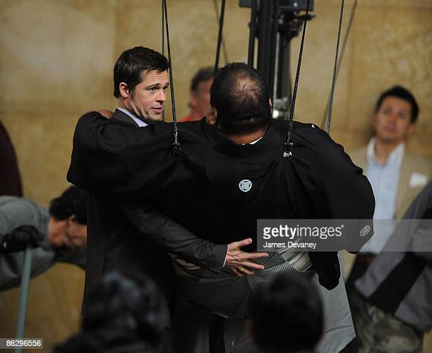 Brad Pitt and a sumo wrestler film a Softbank commercial in Midtown Manhattan on April 29 2009 in New York City