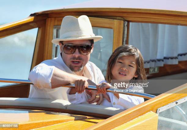 Brad Pitt and adopted son Pax Thien Jolie-Pitt take a water boat from Marco Polo Airport in Venice ahead of the 65th Venice Film Festival on August...