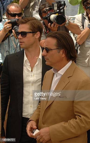 Brad Pitt and Andy Garcia during 2007 Cannes Film Festival 'Ocean's Thirteen' Photocall at Palais des Festivals in Cannes France