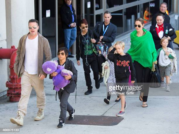 Brad Pitt and Angelina Jolie are seen after landing at Los Angeles International Airport with their children Pax JoliePitt Maddox JoliePitt Shiloh...