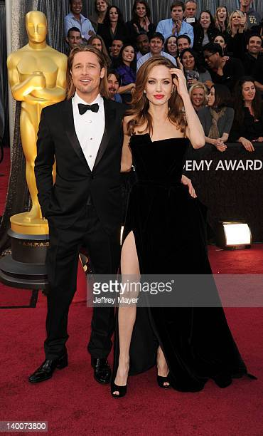Brad Pitt and Angelina Jolie arrive at the 84th Annual Academy Awards held at Hollywood Highland Centre on February 26 2012 in Hollywood California