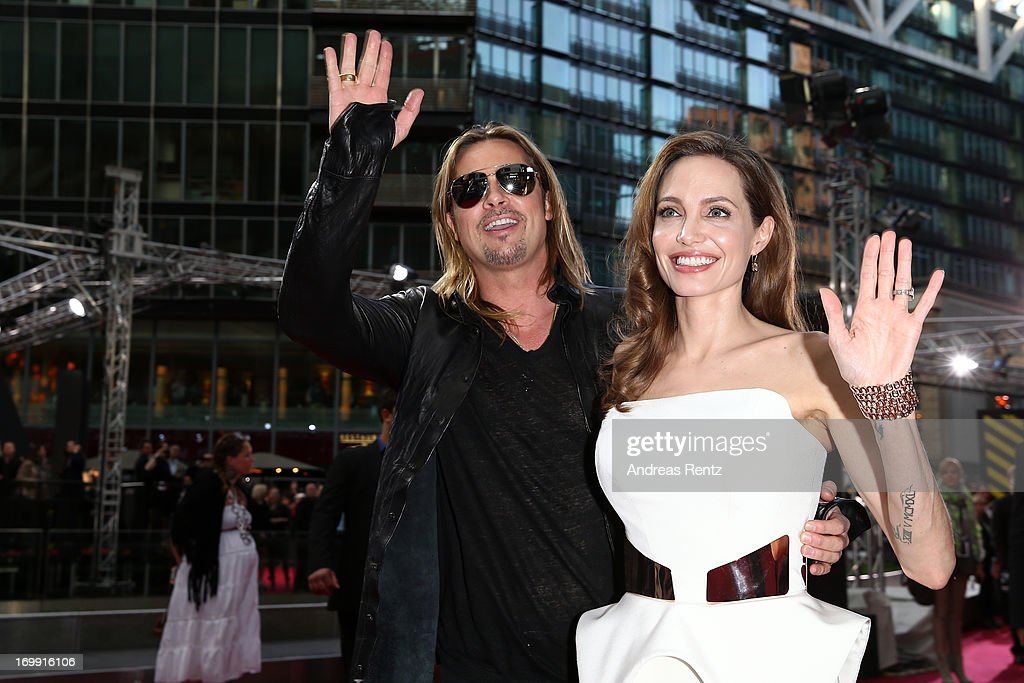 Brad Pitt and Angelina Jolie arrive at the red carpet for the 'WORLD WAR Z' Germany Premiere at Sony Centre on June 4, 2013 in Berlin, Germany.