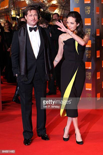 Brad Pitt and Angelina Jolie arrive for the Orange British Academy Film Awards 2009 at the Royal Opera House on February 8 2009 in London England
