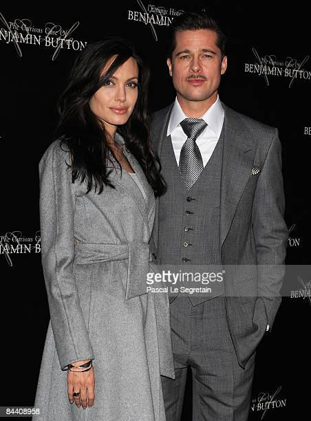 Brad Pitt and Angelina Jolie arrive to attend The Curious Case of Benjamin Button Paris Premiere on January 22 2009 at Gaumont Marignan in Paris...
