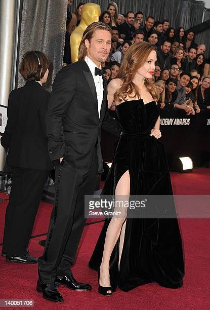 Brad Pitt and Angelina Jolie arrives at the 84th Annual Academy Awards at Grauman's Chinese Theatre on February 26 2012 in Hollywood California