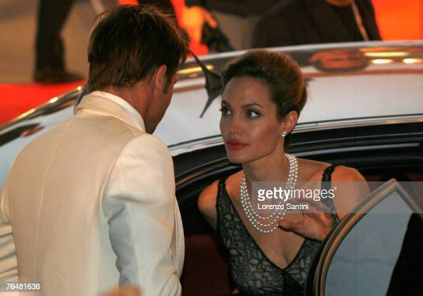 Brad Pitt and Angelina Jolie arriving at the Palazzo del Casino for the The Assassination of Jesse James by the Coward Robert Ford premiere on...