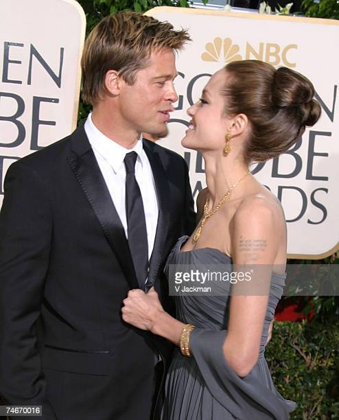 Brad Pitt and Angelina Jolie at the 64th Annual Golden Globe Awards Arrivals at Beverly Hilton Hotel in Beverly Hills California