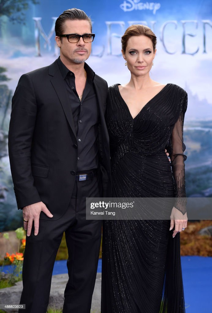 Brad Pitt and Angelina Jolie attend a private reception as costumes and props from Disney's 'Maleficent' are exhibited in support of Great Ormond Street Hospital held at Kensington Palace on May 8, 2014 in London, England.