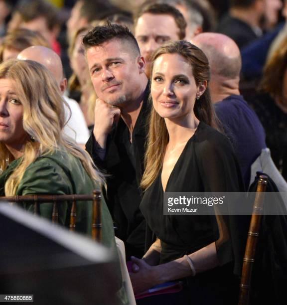 Brad Pitt and Angelina Jolie attend the 2014 Film Independent Spirit Awards at Santa Monica Beach on March 1 2014 in Santa Monica California
