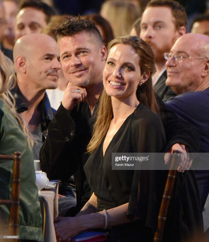 Brad Pitt and Angelina Jolie attend the 2014 Film Independent Spirit Awards at Santa Monica Beach on March 1, 2014 in Santa Monica, California.