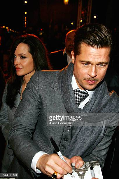 Brad Pitt and Angelina Jolie attend 'The curious case of Benjamin Button' at the Gaumont Marignan cinema on January 22 2009 in Paris France