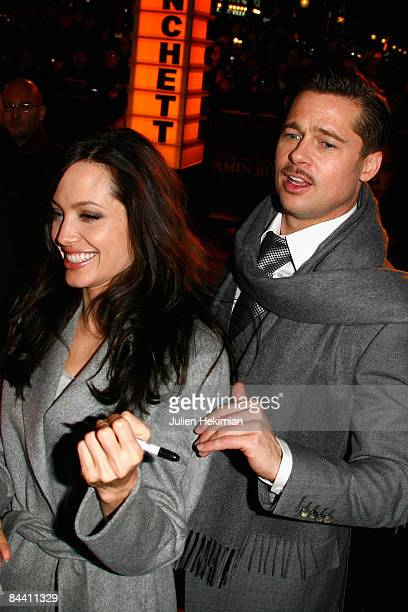 Brad Pitt and Angelina Jolie attend 'The curious case of Benjamin Button' Paris premiere at the Gaumont Marignan cinema on January 22 2009 in Paris...