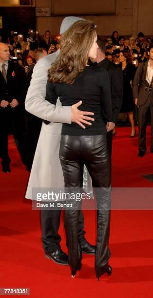 Brad Pitt and Angelina Jolie attend the European premiere of 'Beowulf' at the Vue West End on November 11 2007 in London England