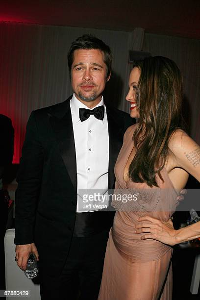 Brad Pitt and Angelina Jolie attend the ''Inglourious Basterds after party presented by Belstaff at Baoli during the 62nd Annual Cannes Film Festival...