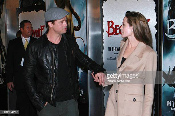 Brad Pitt and Angelina Jolie attend The Los Angeles Premiere of 'Beowulf' at Westwood Village on November 5 2007 in Westwood CA