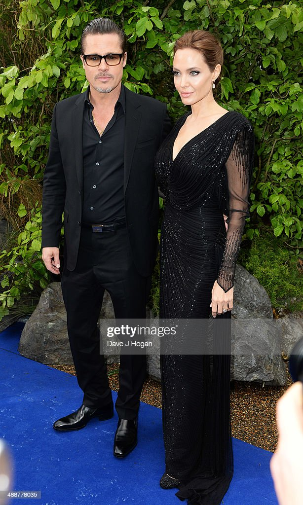 Brad Pitt and Angelina Jolie attend the 'Maleficent' Costume And Props Private Reception at Kensington Palace on May 8, 2014 in London, England.