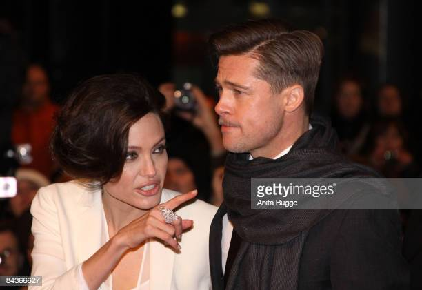 Brad Pitt and Angelina Jolie attend the The Curious Case Of Benjamin Button Berlin Premiere on January 19 2009 in Berlin Germany