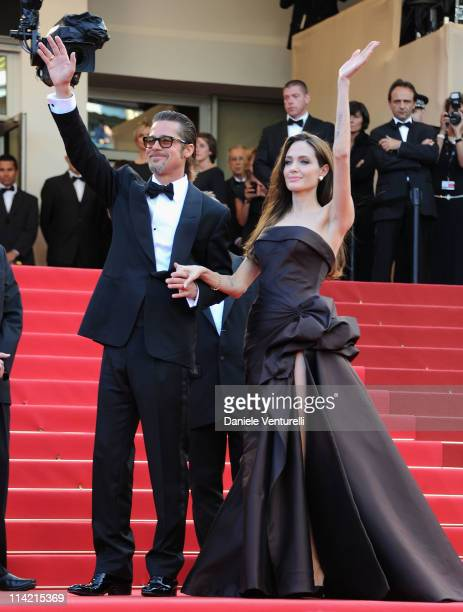 "Brad Pitt and Angelina Jolie attend ""The Tree Of Life"" Premiere during the 64th Annual Cannes Film Festival at Palais des Festivals on May 16, 2011..."