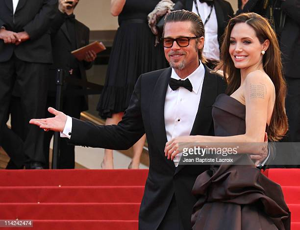 Brad Pitt and Angelina Jolie attend 'The Tree Of Life' Premiere during the 64th Annual Cannes Film Festival at Palais des Festivals on May 16 2011 in...