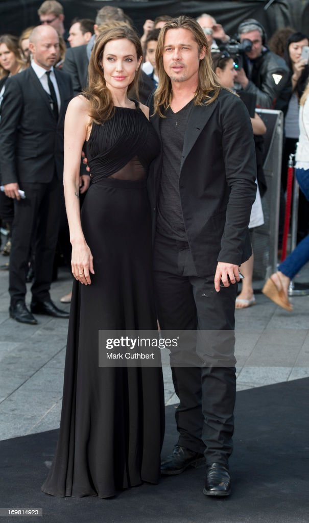 Brad Pitt and Angelina Jolie attend the World Premiere of 'World War Z' at The Empire Cinema on June 2, 2013 in London, England.