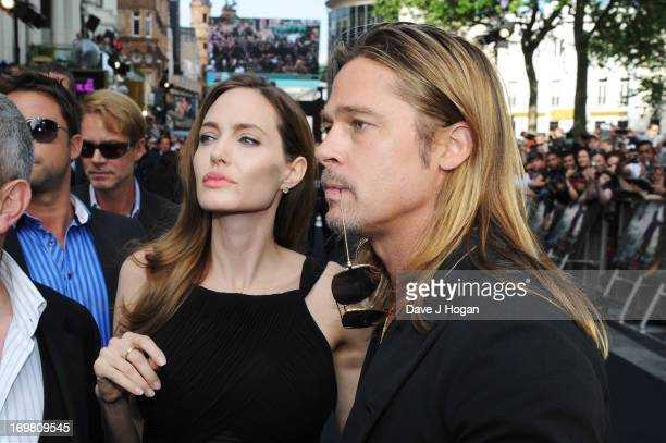 Brad Pitt and Angelina Jolie attend world premiere of World War Z at the Empire Leicester Square on June 2, 2013 in London, England.