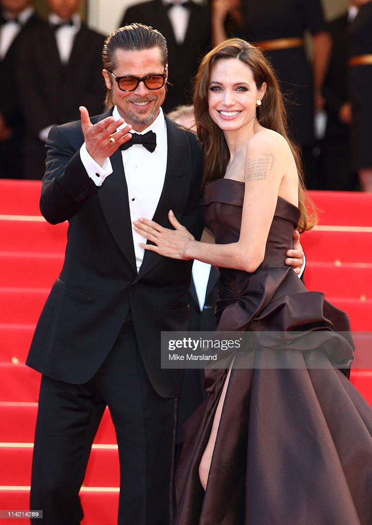 Brad Pitt and Angelina Jolie attends the 'The Tree Of Life' premiere during the 64th Annual Cannes Film Festival at Palais des Festivals on May 16, 2011 in Cannes, France.