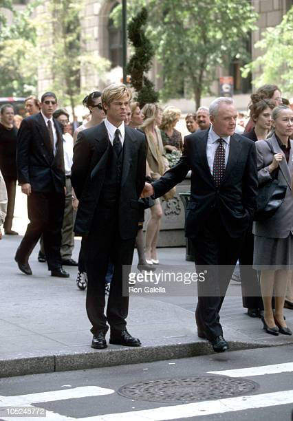 Brad Pitt and Anthony Hopkins during Filming 'Meet Joe Black' at 55th Street 5th Avenue in New York City NY United States