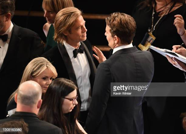 Brad Pitt and Bradley Cooper attend the 92nd Annual Academy Awards at Dolby Theatre on February 09 2020 in Hollywood California