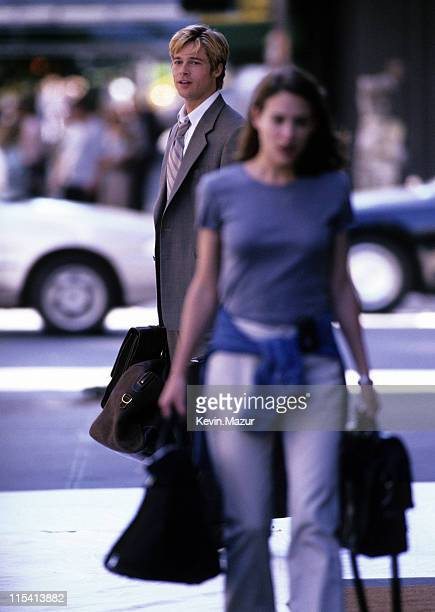 Brad Pitt and Claire Forlani during Meet Joe Black On Location at Streets of Manhattan in New York City New York United States