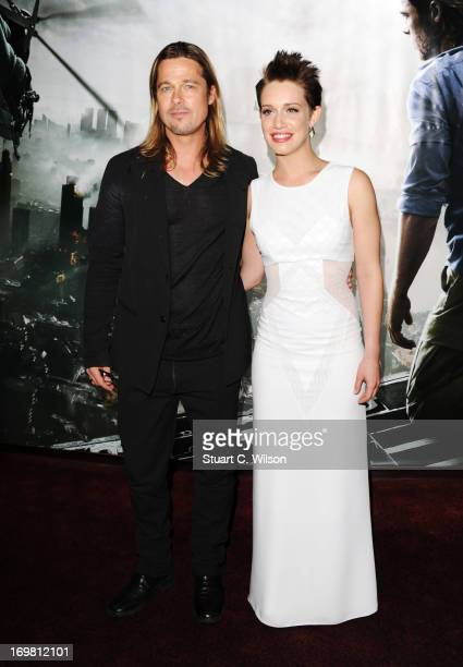 Brad Pitt and Daniella Kertesz attend the World Premiere of 'World War Z' at The Empire Cinema on June 2, 2013 in London, England.