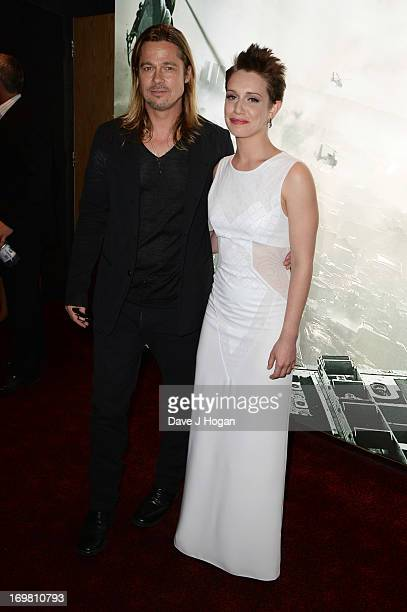 Brad Pitt and Daniella Kertesz attend world premiere of World War Z at the Empire Leicester Square on June 2, 2013 in London, England.