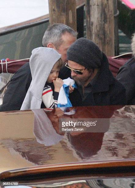 Brad Pitt and daughter Shiloh JoliePitt depart Palazzo Mocenigo on February 18 2010 in Venice Italy