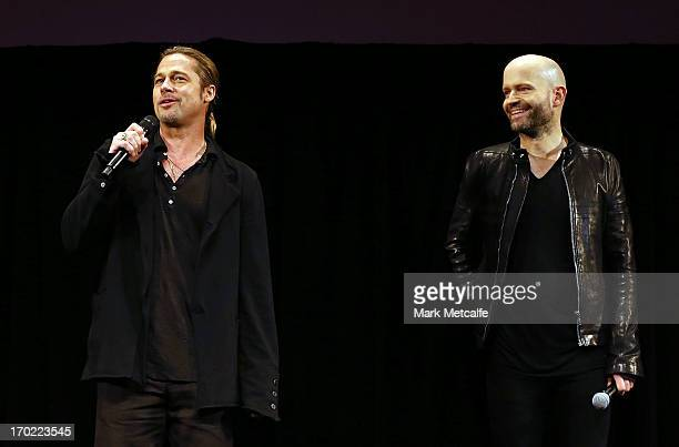 Brad Pitt and Director Marc Forster introduce the 'World War Z' Australian Premiere at the Star on June 9 2013 in Sydney Australia
