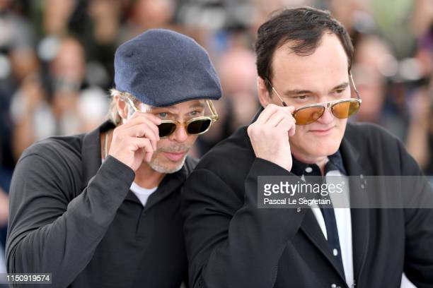 "Brad Pitt and Director Quentin Tarantino attend the photocall for ""Once Upon A Time In Hollywood"" during the 72nd annual Cannes Film Festival on May..."