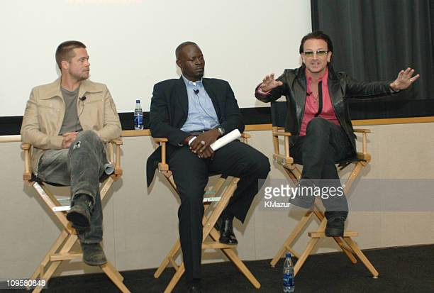 Brad Pitt and Djimon Hounsou with Bono of U2 during ONE The Campaign to Make Poverty History at Creative Artists Agency in Beverly Hills California...