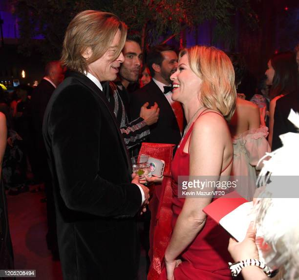 Brad Pitt and Elizabeth Banks attend the 2020 Vanity Fair Oscar Party hosted by Radhika Jones at Wallis Annenberg Center for the Performing Arts on...