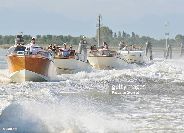 Brad Pitt and entourage take a water taxi to Venice ahead of the 65th Venice Film Festival on August 26, 2008 in Venice Italy.